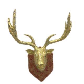 ディアヘッド Deer Head ゴールド/レッド<br> 剥製 アニマルヘッド 鹿 トナカイ<br>