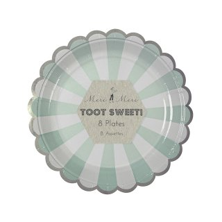 【Meri Meri メリメリ】ペーパープレート アクアストライプ スモール 8枚入り Toot Sweet Small Aqua Striped Plate