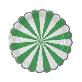 【Meri Meri メリメリ】ペーパープレート グリーンストライプ スモール 8枚入り Toot Sweet Small Green Stripe Plate