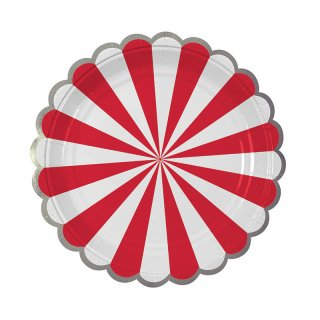 【Meri Meri メリメリ】ペーパープレート レッドストライプ スモール 8枚入り Toot Sweet Small Red Stripe Plate