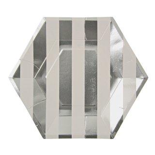 【Meri Meri メリメリ】ペーパープレート シルバーストライプ ラージ 8枚入り Toot Sweet Silver Stripe Large Party Plate