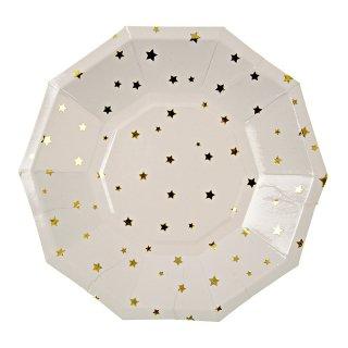 【Meri Meri メリメリ】ペーパープレート ゴールドストライプ ラージ 8枚入り Toot Sweet Gold Stripe Large Party Plate
