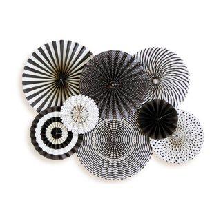【My Mind's Eye マイマインズアイ】ブラック&ホワイトペーパーファンセット|Black&White Party Fans