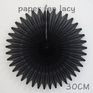 ペーパーファン レーシー ブラック 30cm 【4個までメール便可】