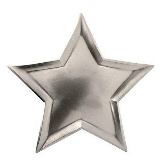 【Meri Meri メリメリ】シルバースターホイルプレート|STAR SILVER FOIL PLATE