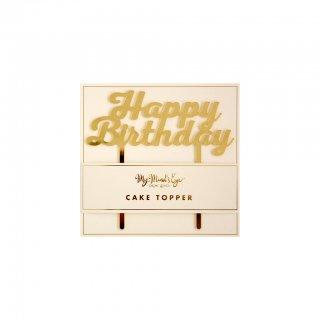 【My Mind's Eye マイマインズアイ】バースデーケーキトッパー ゴールド|Basic Happy Birthday Cake Topper【2個までメール便可】