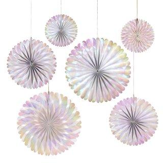 【Meri Meri メリメリ】オーロラペーパーファンセット|Iridescent Pinwheels