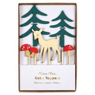 【SALEセール】【Meri Meri メリメリ】鹿ときのこのウッドランドケーキトッパー|Woodland Cake Toppers
