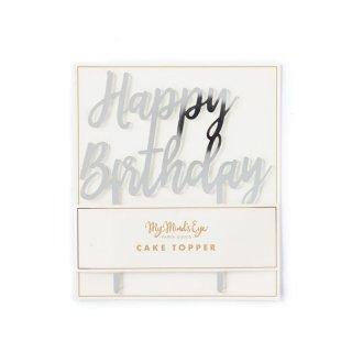 【My Mind's Eye マイマインズアイ】ハッピーバースデーケーキトッパー シルバー|BASIC SILVER HAPPY BIRTHDAY CAKE TOPPER【メール便可】