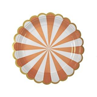【Meri Meri メリメリ】ペーパープレート オレンジストライプ スモール 8枚入り Toot Sweet Small Orange Striped Plate