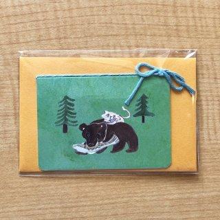 『ミニミニメッセージカード/木彫りの熊』
