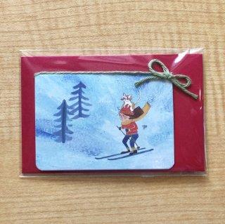 『ミニミニメッセージカード/猫と一緒のスキーヤー』