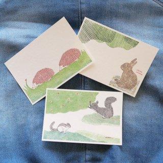 ポストカード(ハリネズミ ・ユキウサギ・エゾリス )