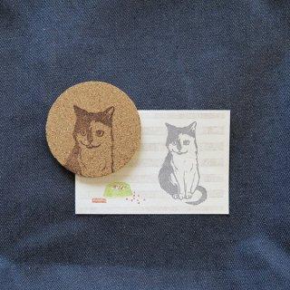 ポストカードとコルクコースター( 猫前向き )