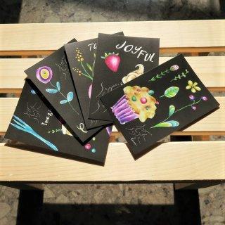 ポストカード sapporo cafe style (ケーキとマカロンとパフェ)