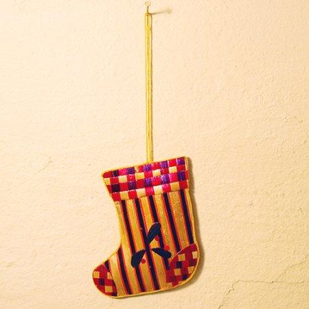 しましま靴下 / 麦わらクリスマスオーナメント / ハンドメイド / Sweden
