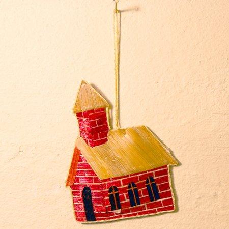 煙突のある家 / 麦わらクリスマスオーナメント / ハンドメイド / Sweden