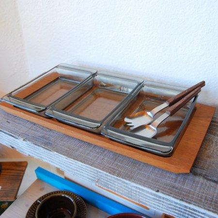 チークトレーと3つのグラストレー、スプーン2個セット /  Denmark