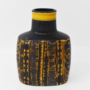 Royal Copenhagen / Baca / 黒と黄色のフラワーベース / Nils Thorson / Denmark