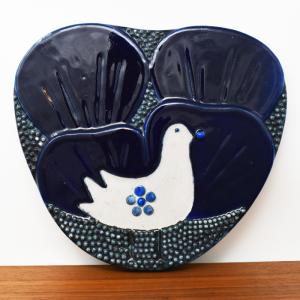 Rorstrand / ATELJE / 藍色のトリの陶板 / Sylvia Leuchovius / Sweden