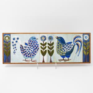 Royal Copenhagen / ハトとお花の壁掛けタイル / Berte Koele / Denmark