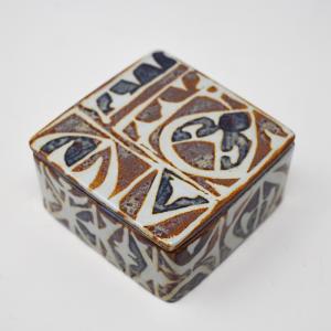 Royal Copenhagen / Baca / 白と茶色の蓋付ボックス / Nils Thorson / Denmark
