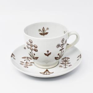 Arabia / Tapestry brown/ デミタスカップ&ソーサー / Birger Kaipiainen / Finland