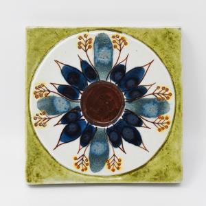 Royal Copenhagen  / 植物模様のタイル2 / 7.5×7.5cm/ Berte Jessen / DENMARK