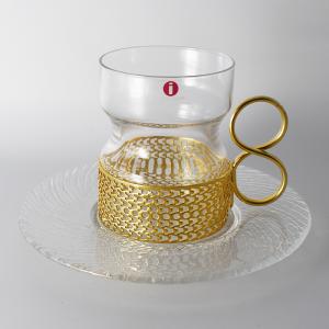 iittala / Tsaikka(イッタラ / ツァイッカ) / ソーサー付き耐熱グラスゴールド
