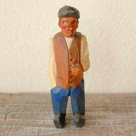 パイプをくわえた老人 / 木彫人形 / Denmark