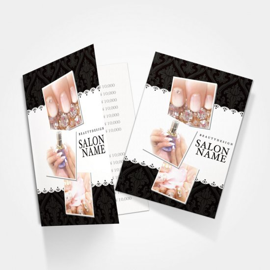 【 2つ折りパンフレット|おもて面 】ダマスク柄のおしゃれ可愛いデザインパンフレット02