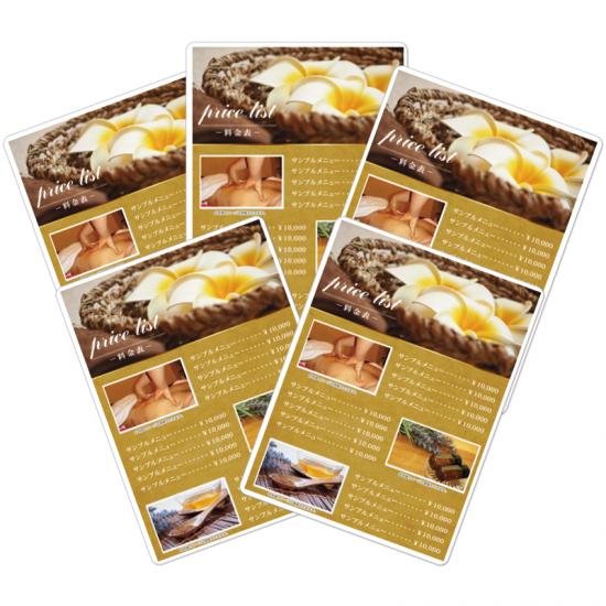 【料金表・メニュー表】おしゃれオーガニック美容サロンデザイン04 ※(5枚組)ラミネート加工