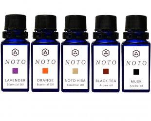 NOTO アロマオイル5本セット アソート2(ラベンダー、オレンジ、能登ヒバ精油、紅茶、ムスクオイル)