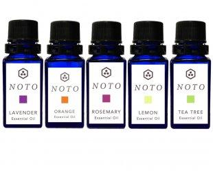 NOTO アロマオイル5本セット アソート3(ラベンダー、オレンジ、ローズマリー、レモン、ティーツリー精油)