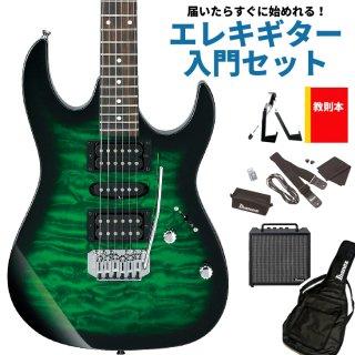 【届いたらすぐに始めれる!エレキギター入門セット】<br>Ibanez ( アイバニーズ ) GIOシリーズ エレキギター GRX70QA(TEB:トランスペアレント エメラルドバースト)