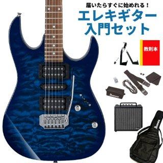 【届いたらすぐに始めれる!エレキギター入門セット】<br>Ibanez ( アイバニーズ ) GIOシリーズ エレキギター GRX70QA(TBB:トランスペアレント ブルーバースト)