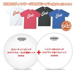 【数量限定Tシャツプレゼント】EVANS(エバンス) 14インチ スネアドラムヘッド 打面、スネアサイド用2枚セット B14G1+S14H30