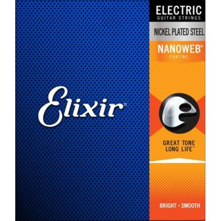 Elixir(エリクサー)エレキギター弦 NANOWEBコーティング 1セット (Light)<br>【追跡可能メール便 送料無料】