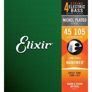 Elixir(エリクサー)エレキベース弦 ニッケル NANOWEBコーティング 1セット (Light/Long)<br>【ゆうパケット 送料無料】