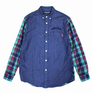 【ROLLING CRADLE】DENIM CHECK COMBI SHIRT (GREEN)