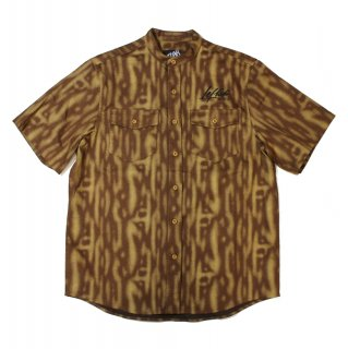 【LEFLAH】TIGER PATTERN DENIM NO COLLAR SHIRT (BROWN)