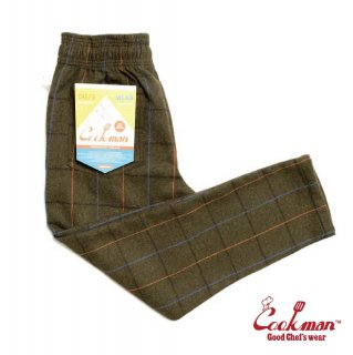 【COOKMAN】 Chef Pants 「Wool Mix Check」 Olive Green