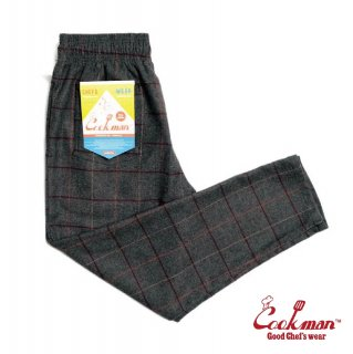 【COOKMAN】 Chef Pants 「Wool Mix Check」 Gray