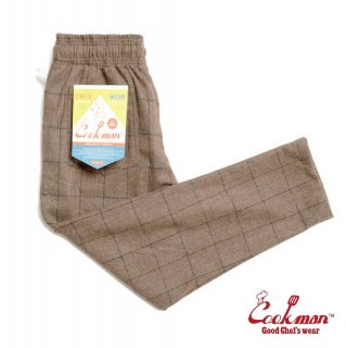 【COOKMAN】 Chef Pants 「Wool Mix Check」 Brown