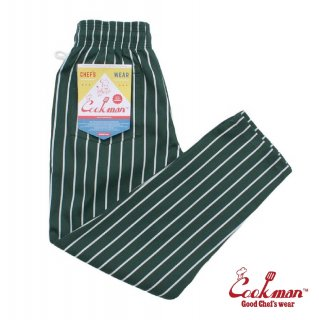 【COOKMAN】 Chef Pants 「Stripe」 DARK GREEN