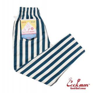 【COOKMAN】 Chef Pants 「Wide stripe」 Navy