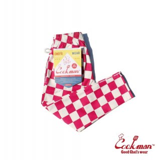 【COOKMAN】 Chef Pants Kids 「Checker」 Pink
