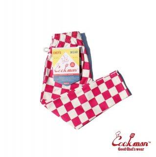 【COOKMAN】 Chef Pants Kids 「Checker」 Pink