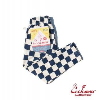 【COOKMAN】 Chef Pants Kids 「Checker」 Navy