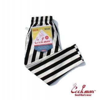 【COOKMAN】 Chef Pants Kids 「Wide Stripe」 Black